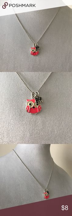 BFF owl necklace Adorable fun for the summer BFF bright colors little Owl  with silver chain Justice Accessories Jewelry