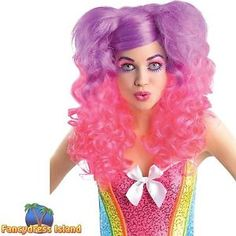 CANDY-GIRL-KATIE-PERRY-PINK-PURPLE-WIG-CURLY-BUNCHES-ladies-fancy-dress-womens