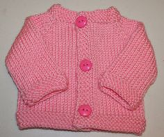 Hand Knit Soft Pink Classic Newborn Baby Cardigan by BlissfulFiber, $16.50