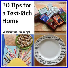 30 Tips for a Text-Rich Home. Really great ideas to help you create a print rich environment for your young children. Relevant for those with pre-readers and those who are raising bilingual kids. Kids Learning Activities, Learning Spaces, Learning Tools, Writing Activities, Learning Resources, Fun Learning, Spanish Classroom, Teaching Spanish, Teaching English
