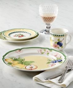 Villeroy & Boch Dinnerware, French Garden Collection $27.00 Inspire the warm and welcoming feel of a country cottage in your dining room with the ever popular dinnerware collection French Garden. The green and yellow palette are complimented by florals, fruits and lattice designs which can be mixed and matched to create a delightful tablescape. Bring a bit of the French countryside charm in your home.