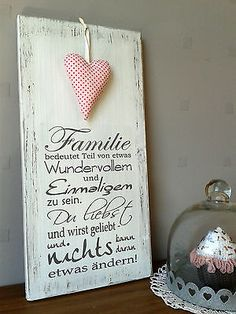 """Weißes Shabby Holzschild """"Familie"""" in Möbel & Wohnen, Dekoration, Schilder & Tafeln   eBay"""