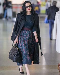 Dita Von Teese in Ulyana Sergeenko skirt and pullover