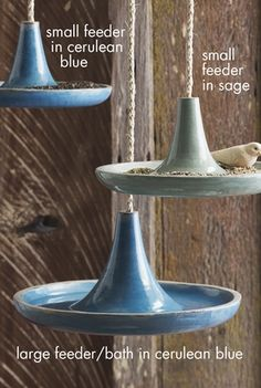 Small Glazed Catalina Terracotta Bird Feeder in Sage Green or Cerulean Blue