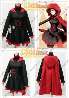 RWBY Ruby Rose Cosplay Costume red & black cape by CSddlinkcosplay, $75.99