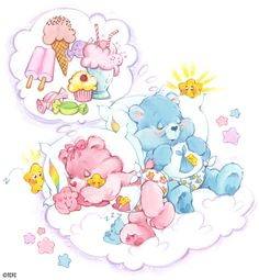Dreaming Baby Hugs and Baby Tugs by American Greetings (americangreetings), from the Series Care Bears: Classics, on NeonMob Care Bear Tattoos, Care Bears Vintage, Baby Hug, Bear Wallpaper, Rainbow Brite, Dream Baby, American Greetings, Tatty Teddy, Bear Art