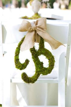 Moss Covered  Letter Initial With Burlap Ribbon & Burlap Bow.