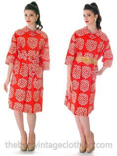 Unique Vintage 70s MARIMEKKO Dress Hot Red Geometric Print