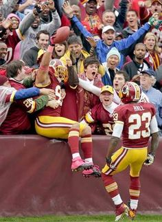 Redskins linebacker Ryan Kerrigan celebrates his touchdown with Redskins fans.