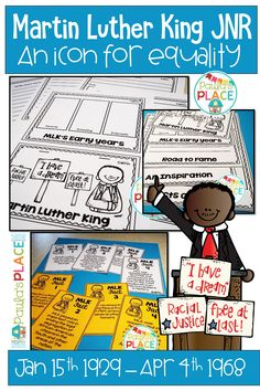 This pack provides printables and facts about Martin Luther King Jnr (MLK). There are opportunities to present new learning on the worksheets. Your students will gain an understanding of how difficult it was and still is to fight for equality. Daily 5 Activities, Teaching Activities, Teaching Writing, Reading Comprehension Strategies, Writing Strategies, Reading Resources, Literacy Stations, Literacy Centers, Martin Luther King Jnr
