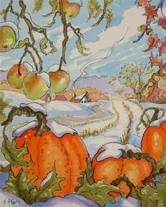 """Snow on the Pumpkin - Storybook Cottage Series""  by Alida Akers"