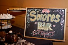 Smores Bar. Totally gonna do this at the next wedding or baby shower that I do!!!  For SURE!!!