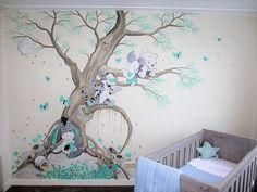 Winnie the Pooh muurschildering babykamer gemaakt door Saskia de Wit