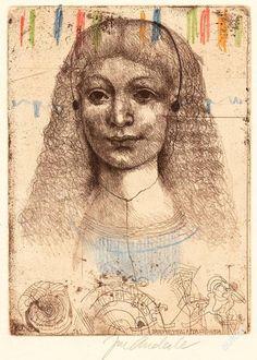http://img05.allegroimg.pl/photos/oryginal/48/33/54/76/4833547673 Dívka poslouchající Beethovenovu Appassionatu suchá jehla, lept a kresba pastely z roku 1996; grafika s opusovým číslem 531; volný list rozměry: grafický list - 21,5 x 15,8 cm