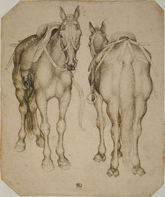 Pisanello, Two views of a saddled horse, with crupper, mid 15C. Codex Vallardi…