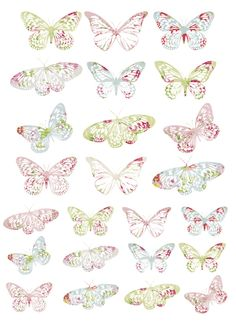 Butterfly or Fary Birthday Party decoration or colouring activity: Vintage Butterflies Free Printables