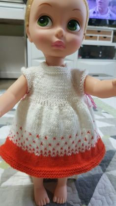 오렌지 톡톡 베이비돌 원피스대바늘뜨기로 베돌옷만들기목요일 저녁부터 어제까지 시간될때마다 짬짬히 뜬 ...