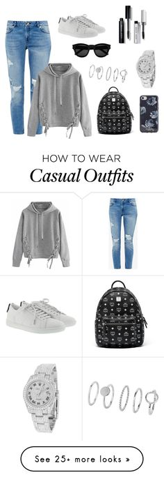 """casual jeans"" by lena-topouzi on Polyvore featuring Ted Baker, WithChic, Yves Saint Laurent, MCM, Kate Spade, Rolex and Bobbi Brown Cosmetics"