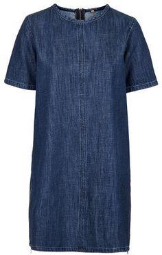 TopShop Womens MOTO Indigo Wash T-Shirt Dress - Indigo Denim