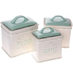Give your kitchen countertop a dose of vintage country charm with our set of Three Stoneware Canisters