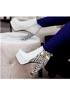 Cool Show Fashionable Contrast Colour Leopard Print Chunky Heel Boots