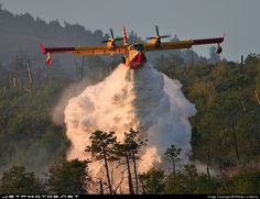 Canadair CL-415 (now renamed as Bombardier 415) water bomber in action