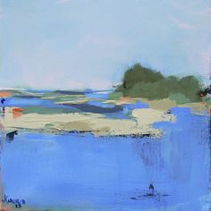 Abstract Landscape Painting Contemporary Acrylic-affordable fine art seascape. $150.00, via Etsy.