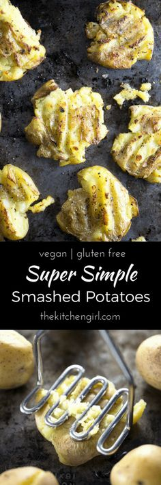 Soft inside, crispy outside! Super Simple Smashed Potatoes are baby potatoes, olive oil, salt, and pepper, baked to perfection! thekitchengirl.com #smashedpotatoes #twicebaked #bakedpotatoes #frenchfries #plantbased #vegan #kidfriendly #vegan #glutenfree