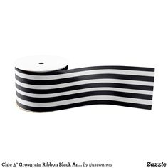 """Chic 3"""" Grosgrain Ribbon Black And White Striped Personalized Wedding, Personalized Gifts, Gift Wrapping Supplies, Unique Wedding Invitations, Christmas Gift Wrapping, Grandma Gifts, Grosgrain Ribbon, Mother Gifts, Black And White"""