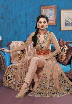 Buy Peach Net Anarkali Kameez with Straight Pant online, work: Embroidered, color: Rose, usage: Festival, category: Salwar Kameez, fabric: Net, price: $149.41, item code: KGB2710, gender: women, brand: Utsav