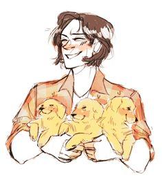 Puppies for Sammy Supernatural Drawings, Supernatural Fan Art, Fanart, Angels And Demons, Sam Winchester, Destiel, Superwholock, Teen Wolf, Art Reference