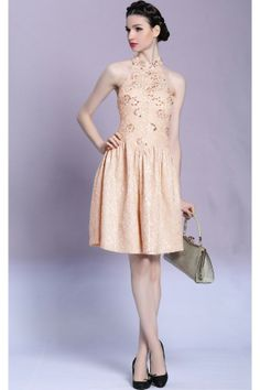 Light Pink Halter Backless beads Short dresses L088