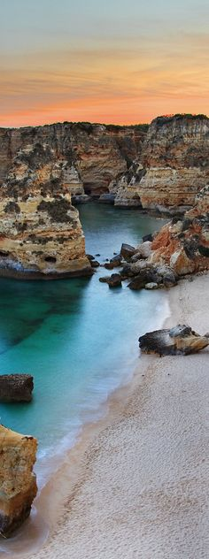 Seascape of Marinha beach in Algarve Praia da Marinha, Algarve, Portugal Places Around The World, Oh The Places You'll Go, Travel Around The World, Places To Travel, Places To Visit, Visit Portugal, Spain And Portugal, Portugal Travel, Faro Portugal