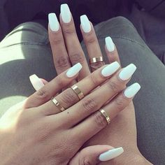 Tag For White : 26 Winter Acrylic Nail Designs Ideas Design Trends coffin nails matte white - Coffin Nails White Coffin Nails, White Acrylic Nails, White Nail Art, White Manicure, Matte White Nails, Long White Nails, White Acrylics, White Summer Nails, Rounded Acrylic Nails
