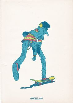 Skateboarding is a Crime  To raise funds for the construction of a Skate Park in the South African capital, Gerhard Human , illustrator and art director of Cape Town, to create an exhibition of his series Skateboarding is not a crime .