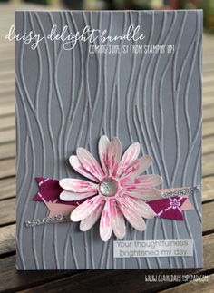 Stampin Up 2017/18 Annual Catalogue Sneak Peek Daisy Delight stamp set / Daisy Punch / emboss resist technique / seaside embossing folder / Powder Pink / Berry Burst