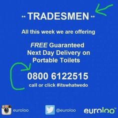Calling every delivery Portable Toilet, Refurbishment, Construction Worker, Carpenter, Free Delivery, Extensions, Brick, London, Instagram Posts