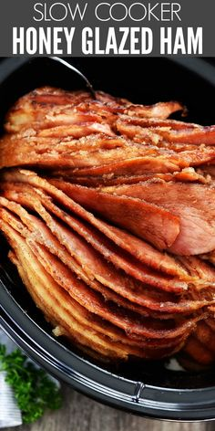 in the oven with this Slow Cooker Honey Glazed Ham! It's slowly cooked with a honey glaze that is bursting with flavor!room in the oven with this Slow Cooker Honey Glazed Ham! It's slowly cooked with a honey glaze that is bursting with flavor! Healthy Soup Recipes, Pork Recipes, Slow Cooker Recipes, Cooking Recipes, Easy Recipes, Ham In Slow Cooker, Cooking Tips, Recipes With Ham Roast, Ham In Pressure Cooker