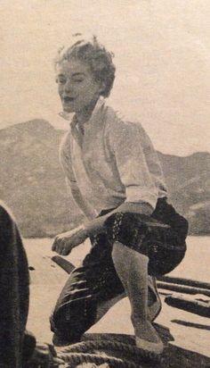 Jeanne Lanvin-Castillo- 1954 White button down blouse over striped crop pants. Elle No.452-  August 9, 1954