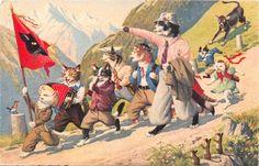 Alfred Mainzer gatos em uma caminhada Max kunzli Cartão Postal Antigo Original in Colecionáveis, Cartões postais, Animais | eBay