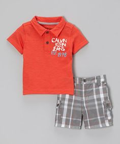 Look what I found on #zulily! Red Polo & Gray Plaid Shorts - Infant, Toddler & Boys by Calvin Klein Jeans #zulilyfinds