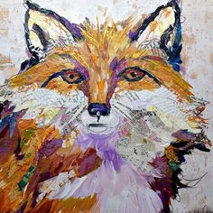 Fox Collage Painting by Elizabeth St. Hilaire Nelson --> paper 'painting' using bits of maps, ticket stubs, sheet music, etc.