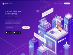 Streeter App- stop App for all things local Web Design, App Ui Design, Vector Design, Event Website, Website Ideas, Isometric Art, Ui Inspiration, Community Manager, Site Web
