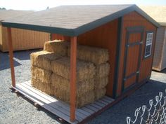 Tack Shed with bale shelter - instead of using for bales use for kids bikes. Horse Shed, Horse Barn Plans, Goat Shelter, Horse Shelter, Tack Shed Ideas, Small Horse Barns, Goat Barn, Run In Shed, Barns Sheds