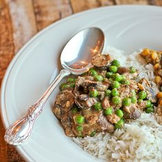 Nawabi Guchhi Mattar (Indian Royal Mushrooms and Peas in Cashew Nut Sauce) in the Slow Cooker