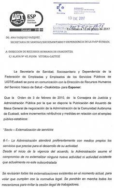 UGT insta a Osakidetza a convocar la Comisión de Seguimiento de Externalizaciones.