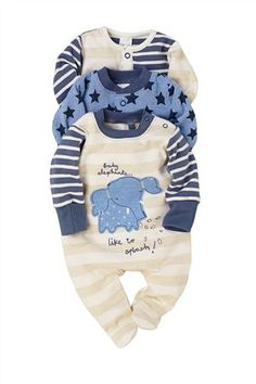 Buy Elephant Sleepsuits Three Pack (0mths-2yrs) from the Next UK online shop