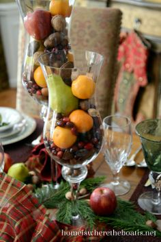 Nuts and fruit in vases or hurricanes for a festive and easy centerpiece. #Mikasa Holiday Traditions