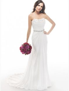 Chiffon Strapless Neckline Sheath Wedding Dress with Beaded Waistband - Bridal Gowns - RainingBlossoms