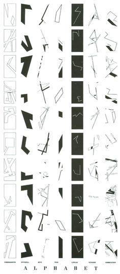 "Daniel Liebskind | Jewish museum | Berlin | 1988-9 Daniel Liebskind ""A diagram of an alphabet of architectural diagrams."" ©Studio Dan..."